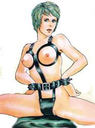 Leather Slave Girl Bondage  Chastity Harness