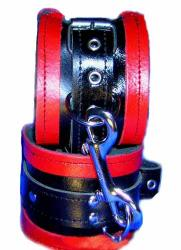 Red and Black Leather Bondage Cuffs